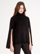 Halston Wool / Cashmere Blend Poncho With Slit Sleeve