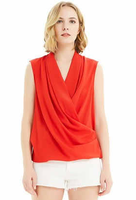 Basic Model Sleeveless Wrap Tank Tops for Women Summer V Neck Chiffon Blouses Casual Loose Shirts