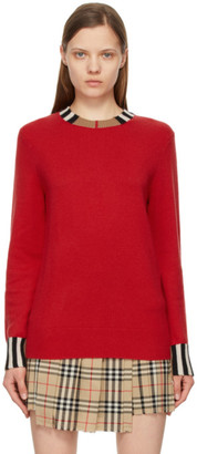 Burberry Red Cashmere Icon Stripe Trim Eyre Sweater