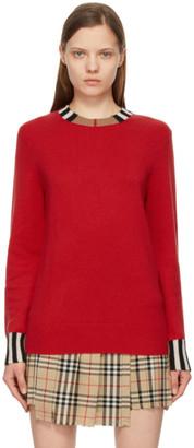 Burberry Red Cashmere Icon Stripe Trim Eyre Sweater