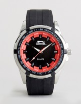 Slazenger Silicone Bracelet Watch In Black And Red