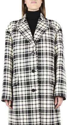 Miu Miu Oversized Coat In Virgin Wool With Checked Motif