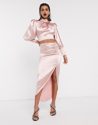 ASOS EDITION satin midi skirt with ruched detail