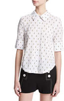 Derek Lam 10 Crosby Tie-Back Shirt W/ Button Detail, White