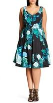 City Chic Plus Size Women's Fresh Hydrangea Print Fit & Flare Dress