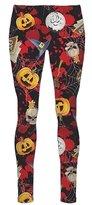 RIDDLED WITH STYLE Ladies Skeleton Bone Pumpkin Ali Baba Pocket Trouser Women Halloween Swing Dress#(Black Skeleton Halloween Skelton Pumpkin Hereem Trouser#US 18-20#Womens)