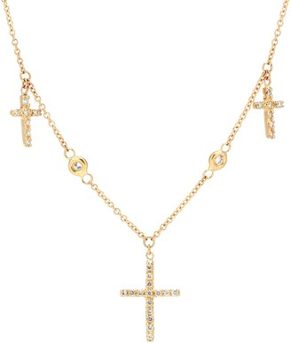 Jacquie Aiche 14kt gold triple cross necklace with white diamonds