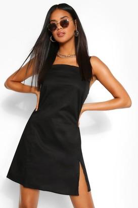 boohoo Cotton Strappy Square Neck Shift Dress
