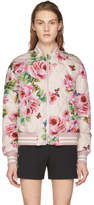 Dolce & Gabbana Pink Quilted Oversized Floral Bomber Jacket