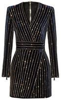 UONBOX Women's Rhinestone Embellished Long Sleeves V Neck Velvet Bandage Cocktail DressL