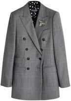 Dolce & Gabbana Virgin Wool Blazer with Embellished Brooch