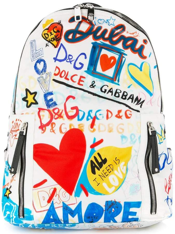 Dolce & Gabbana Dubai graffiti printed backpack