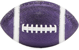 Judith Leiber Game Ball Football Crystal Clutch Bag, Purple/White