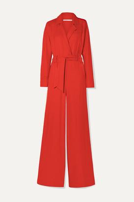 Veronica Beard Lionel Wrap-effect Woven Jumpsuit - Red