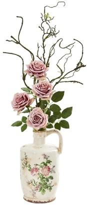 Nearly Natural Vintage Rose Artificial Arrangement in Floral Design Pitcher