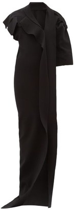 Rick Owens Patti Asymmetric Cut-out Knitted Maxi Dress - Womens - Black
