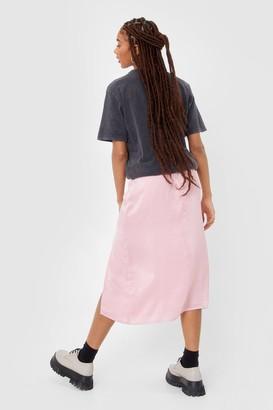 Nasty Gal Womens Slit Satin High Waisted Midi Skirt - Pink - 4