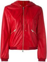 Armani Collezioni hooded leather jacket - women - Cotton/Lamb Skin - 46