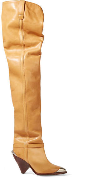 Isabel Marant Lafsten Embellished Leather Over-the-knee Boots - Sand