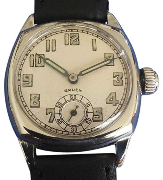 Gruen 14K White Gold & Silver Tone Dial 32mm 1920 Mens Vintage Watch
