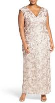 Marina V-Neck Sequin Lace Empire Gown (Plus Size)