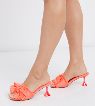 Asos DESIGN Wide Fit Honesty bow mules with flared heel in neon pink
