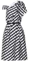Carolina Herrera Gingham taffeta draped midi dress