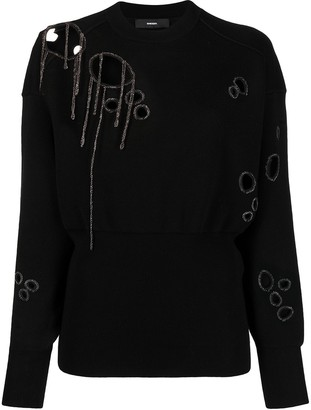 Diesel Cut-Out Chain-Embellished Jumper