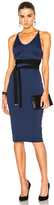 David Koma Side Cut Out Pencil Dress in Black in Blue.