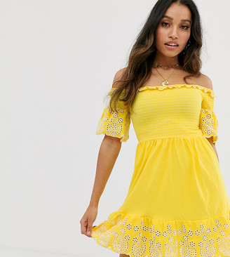 Asos DESIGN Petite mini shirred top sundress with contrast embroidery-Yellow