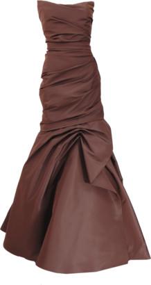 Monique Lhuillier Drape Trumpet Gown