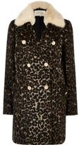 River Island Womens Brown leopard print faux fur trim overcoat