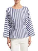 Akris Punto Striped Roundneck Cinched Waist Blouse