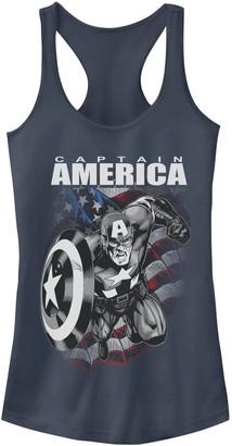 Licensed Character Juniors' Marvel Captain America Black and White Portrait Tank
