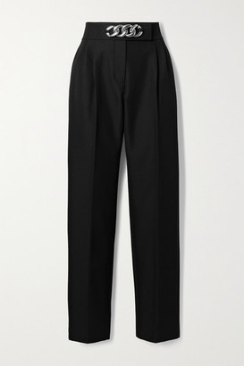 Alexander Wang Chain-embellished Pleated Wool-blend Twill Straight-leg Pants - Black