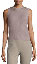 Ralph Lauren Embellished Jewel-Neck Cashmere Shell, Light Mauve