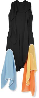J.W.Anderson Petal Tie-neck Paneled Silk-georgette Maxi Dess - Black