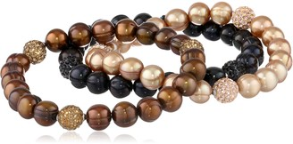 """Honora Pop Star"""" Jet Chocolate and Mocha Freshwater Cultured Pearl and Crystal 7.5"""" Stretch Bracelet"""