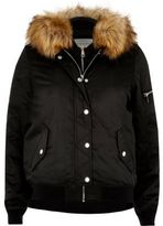 River Island Womens Black hooded bomber jacket