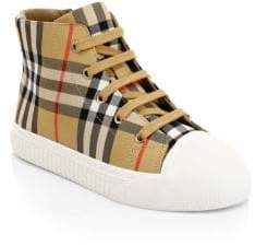 Burberry Kid's Belford High-Top Cotton& Leather Sneakers - Optic White - Size 30 EU/ 12.5 US (Child)