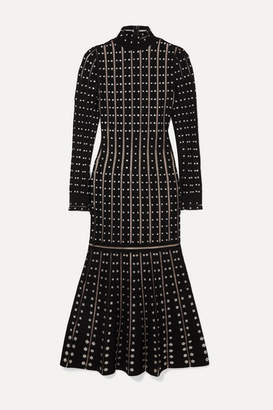 Alexander McQueen Embellished Stretch-knit Midi Dress - Black
