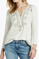 Lucky Brand Embellished 3/4 Sleeve