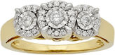 JCPenney FINE JEWELRY LIMITED QUANTITIES 1/4 CT. T.W. Diamond 10K Yellow Gold 3-Stone Ring
