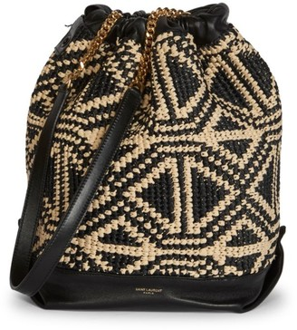 Saint Laurent Teddy Raffia Bucket Bag
