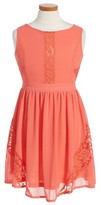 Marciano Girl's Lace Inset Fit & Flare Chiffon Dress