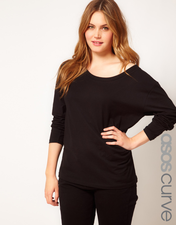 Asos Exclusive Off The Shoulder T-Shirt With Long Sleeve