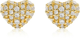 Michael Kors Heart 14K Gold Plated Sterling Silver Pave Studs