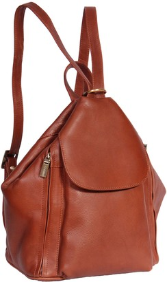 House Of Leather Womens Genuine Leather Backpack 'ROME' Brown Rucksack Organiser Bag 23x30x15cm