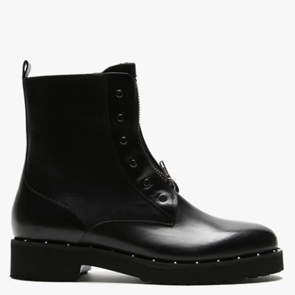 Luca Grossi Hawston Black Leather Zip Front Studded Ankle Boots