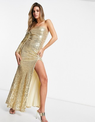 Club L London Club L one shoulder sequin maxi dress with fishtail in gold